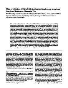 Effect of Inhibition of Nitric Oxide Synthase on Pseudomonas ...
