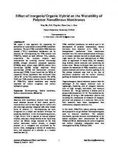 Effect of Inorganic/Organic Hybrid on the Wettability of Polymer ...
