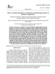Effect of insulin and glucose on adenosine metabolizing enzymes in ...