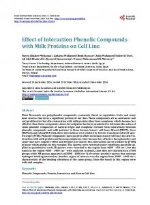 Effect of Interaction Phenolic Compounds with Milk ... - Semantic Scholar