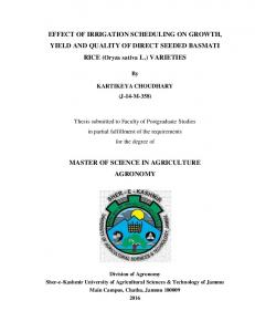 EFFECT OF IRRIGATION SCHEDULING ON