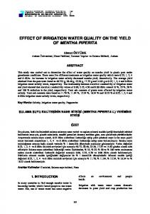 EFFECT OF IRRIGATION WATER QUALITY ON THE YIELD OF ...