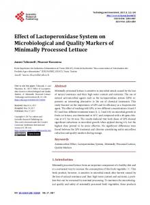 Effect of Lactoperoxidase System on Microbiological and Quality ...