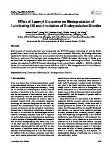 Effect of Lauroyl Glutamine on Biodegradation of Lubricating Oil and
