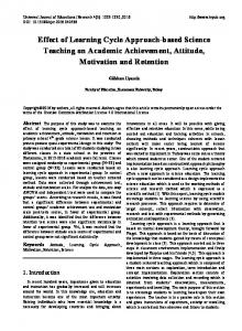 Effect of Learning Cycle Approach-based Science Teaching on ... - Eric