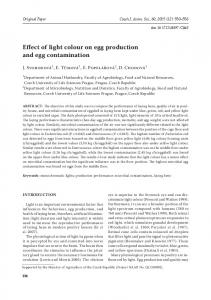 Effect of light colour on egg production and egg contamination