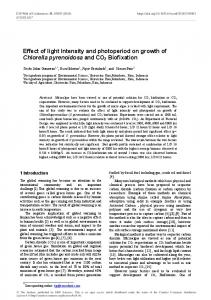 Effect of light Intensity and photoperiod on growth of Chlorella ...