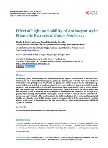 Effect of Light on Stability of Anthocyanins in ... - Semantic Scholar