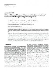 Effect of Lime and Farmyard Manure on the Concentration of