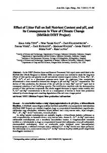 Effect of Litter Fall on Soil Nutrient Content and pH, and its ...