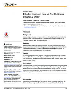 Effect of Local and General Anesthetics on