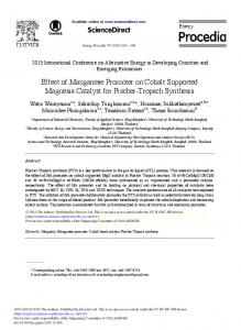 Effect of Manganese Promoter on Cobalt Supported ... - ScienceDirect