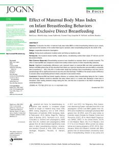 Effect of Maternal Body Mass Index on Infant Breastfeeding Behaviors