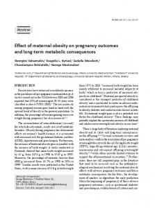 Effect of maternal obesity on pregnancy outcomes ... - Semantic Scholar