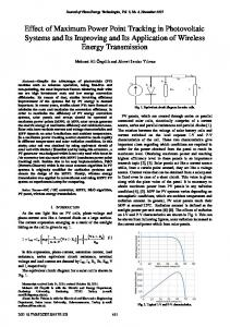 Effect of Maximum Power Point Tracking in Photovoltaic Systems and