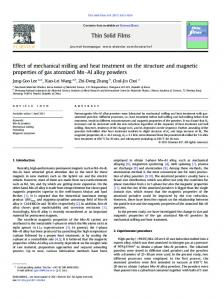 Effect of mechanical milling and heat treatment on the ... - CiteSeerX