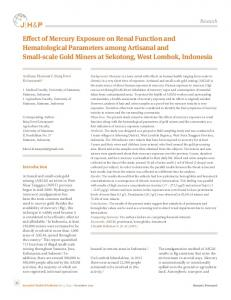 Effect of Mercury Exposure on Renal Function and Hematological ...