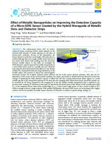 Effect of Metallic Nanoparticles on Improving the ... - ACS Publications
