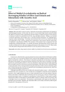 Effect of Methyl -cyclodextrin on Radical Scavenging Kinetics ... - MDPI
