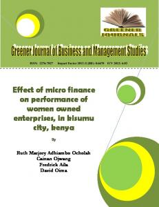 Effect of micro finance on performance of women owned enterprises ...