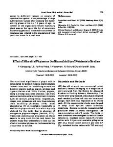 Effect of Microbial Phytase on the Bioavailability of ...