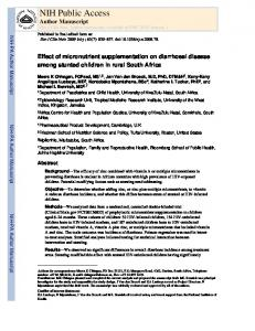 Effect of micronutrient supplementation on diarrhoeal disease among ...