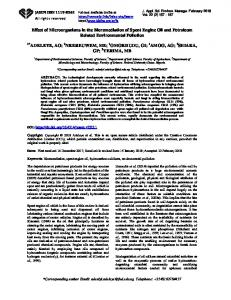 Effect of Microorganisms in the Bioremediation of