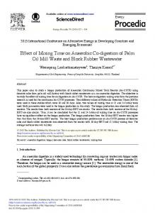 Effect of Mixing Time on Anaerobic Co-digestion of ... - ScienceDirect