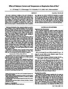 Effect of Moisture Content and Temperature on Respiration Rate of ...