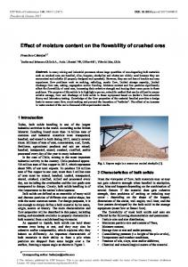 Effect of moisture content on the flowability of crushed ores