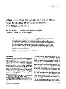 Effect of Morning and Afternoon Naps on Mood After Total Sleep ...