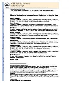 Effect of Motivational Interviewing on Reduction of Alcohol Use