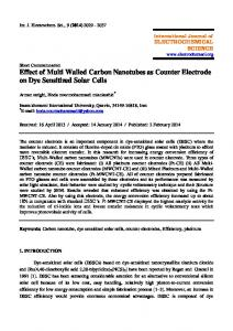 Effect of Multi Walled Carbon Nanotubes as Counter Electrode on Dye ...