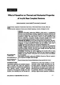 Effect of Nanosilver on Thermal and Mechanical Properties of Acrylic