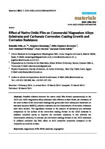 Effect of Native Oxide Film on Commercial Magnesium Alloys ... - MDPI