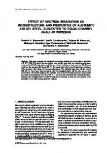 EFFECT OF NEUTRON IRRADIATION ON MICROSTRUCTURE AND