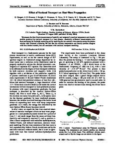 Effect of Nonlocal Transport on Heat-Wave ... - APS Link Manager