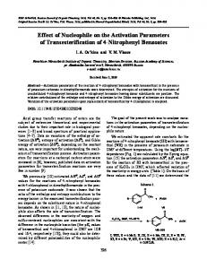 Effect of Nucleophile on the Activation Parameters of ... - Springer Link