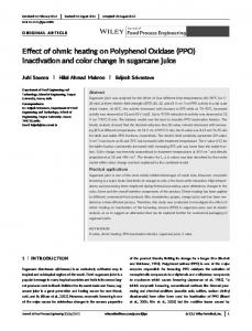 Effect of ohmic heating on Polyphenol Oxidase (PPO ...