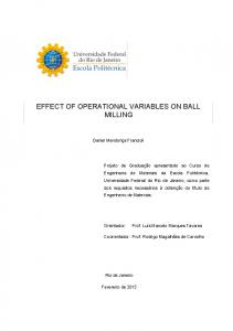 effect of operational variables on ball milling - Poli Monografias - UFRJ