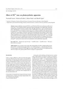 Effect of Pb ions on photosynthetic apparatus