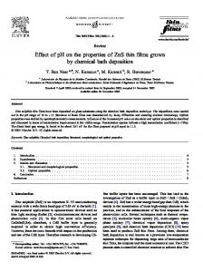 Effect of pH on the properties of ZnS thin films grown by ... - FST