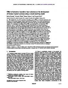 Effect of planetary boundary layer schemes on ... - Wiley Online Library