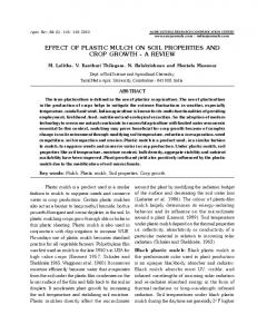 EFFECT OF PLASTIC MULCH ON SOIL PROPERTIES AND CROP ...