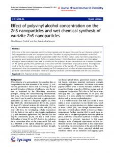 Effect of polyvinyl alcohol concentration on the ZnS nanoparticles and ...