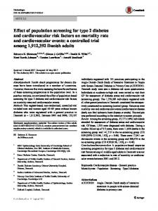 Effect of population screening for type 2 diabetes and ... - Diabetologia