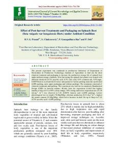 Effect of Post-harvest Treatments and Packaging on Spinach Beet
