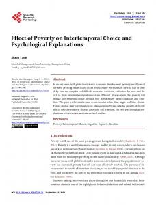 Effect of Poverty on Intertemporal Choice and Psychological ...