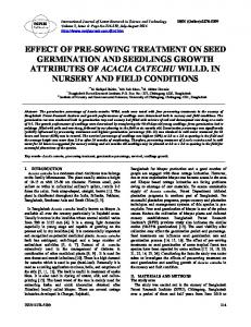 effect of pre-sowing treatment on seed germination and seedlings ...