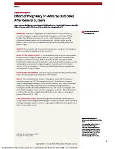 Effect of Pregnancy on Adverse Outcomes After General Surgery